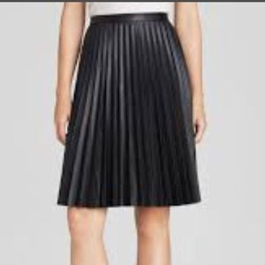Calvin Klein Faux Leather Black Pleated Skirt